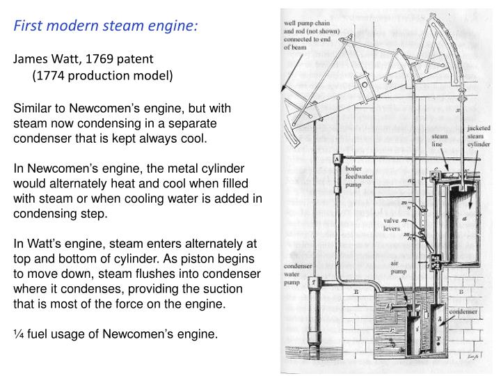 First modern steam engine: