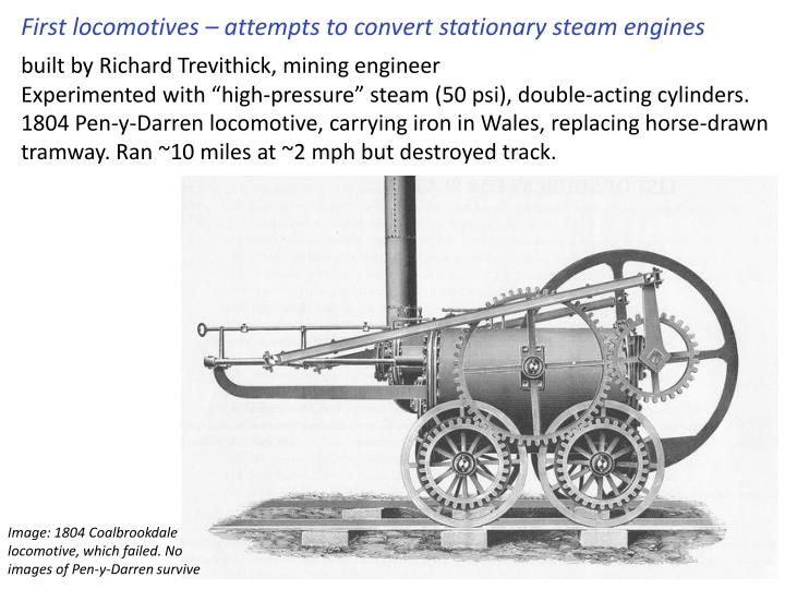 First locomotives – attempts to convert stationary steam engines