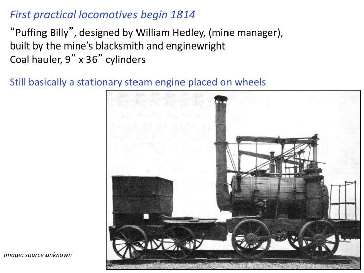 First practical locomotives begin 1814