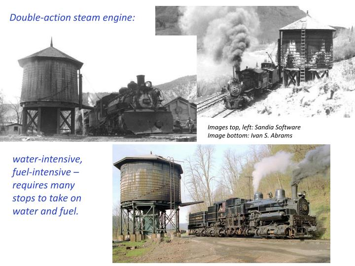 Double-action steam engine: