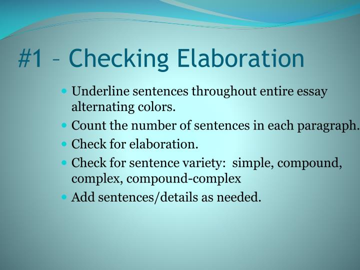 #1 – Checking Elaboration