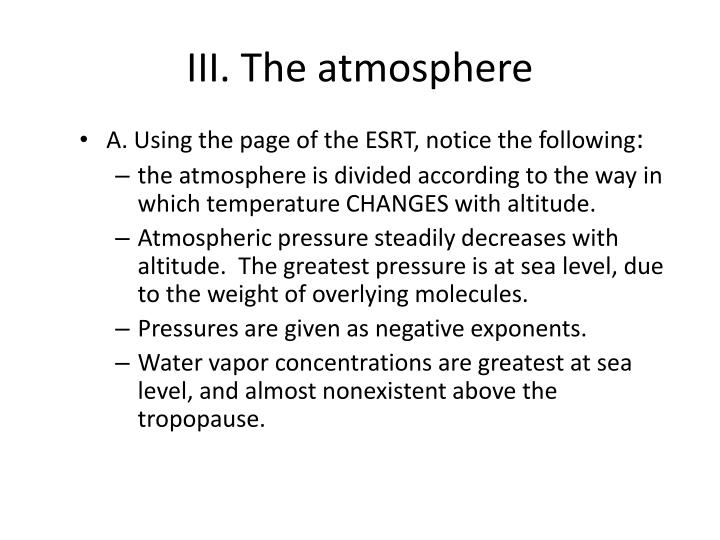 III. The atmosphere
