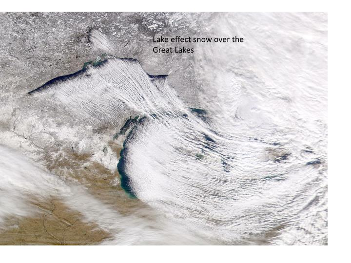 Lake effect snow over the Great Lakes