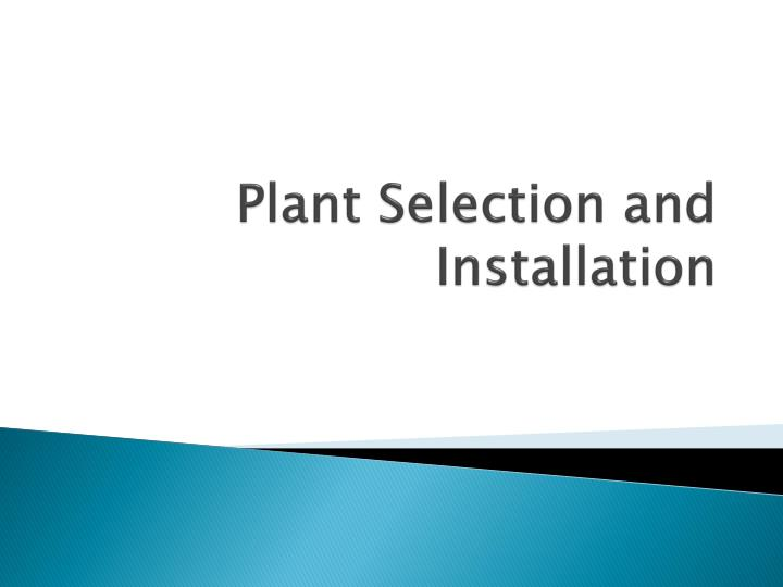 Plant selection and installation