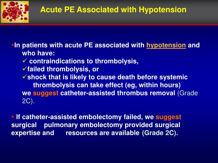Acute PE Associated with Hypotension