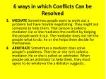 6 ways in which conflicts can be resolved1
