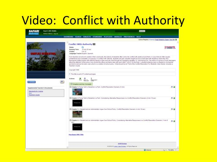 Video:  Conflict with Authority