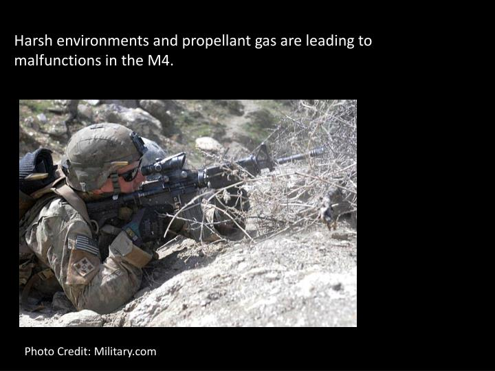 Harsh environments and propellant gas are leading to malfunctions in the M4.