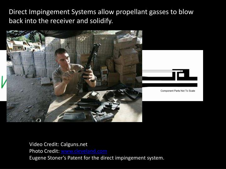 Direct Impingement Systems allow propellant gasses to blow back into the receiver and solidify.