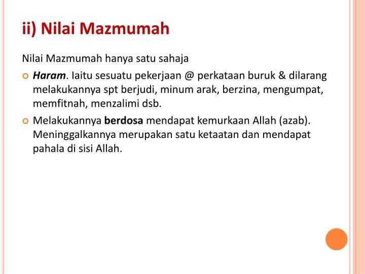 ii) Nilai Mazmumah