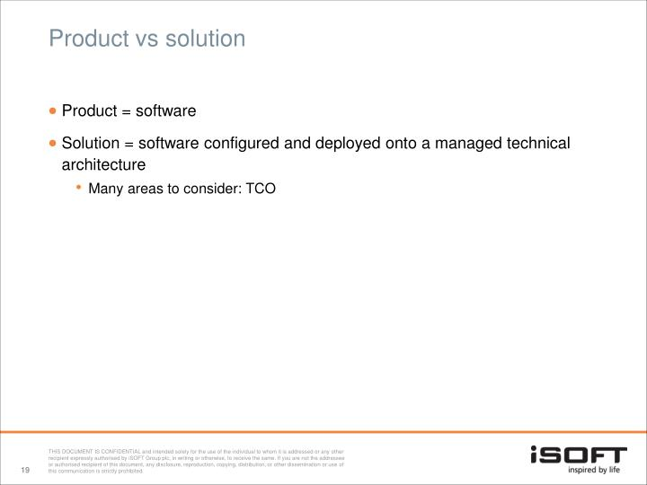Product vs solution