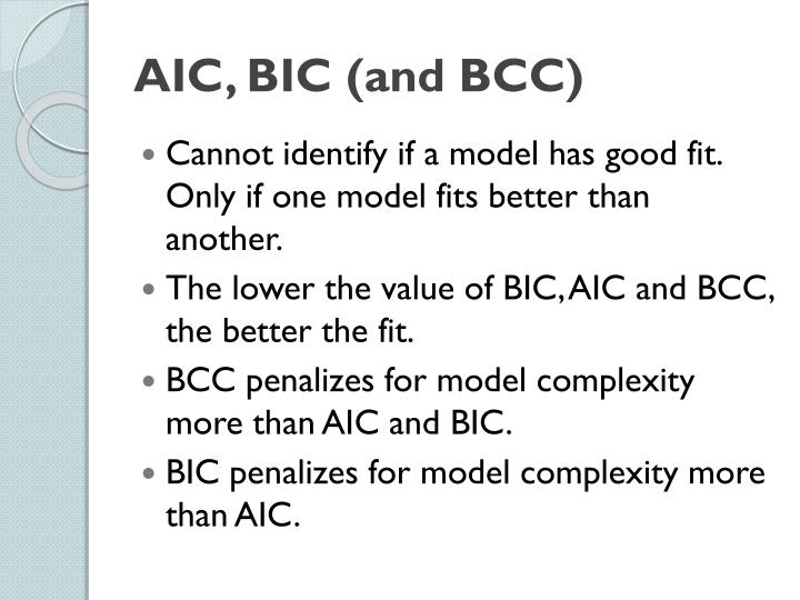 AIC, BIC