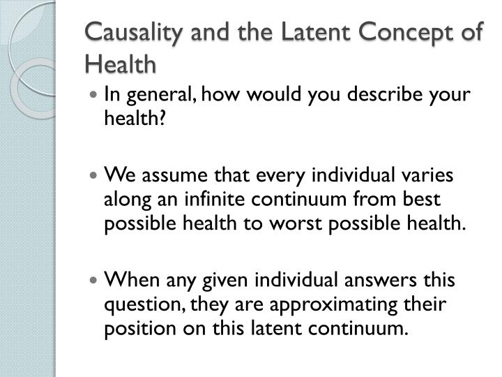 Causality and the Latent Concept of Health