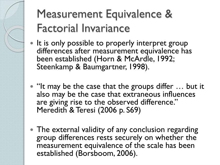 Measurement Equivalence &