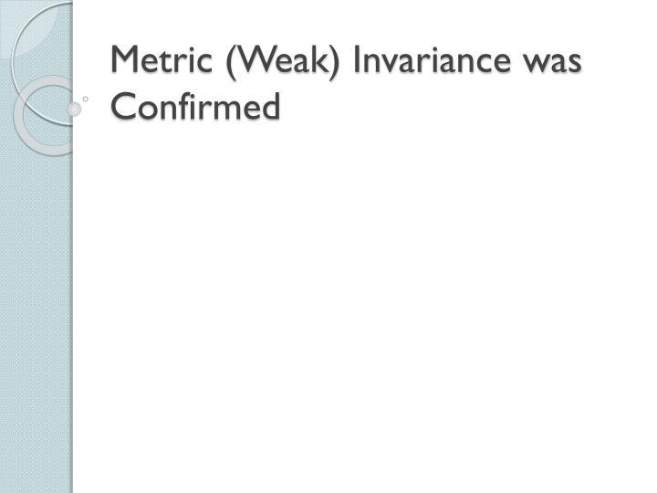 Metric (Weak) Invariance was Confirmed