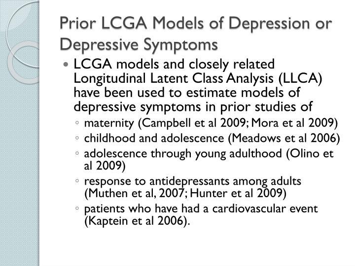 Prior LCGA Models of Depression or Depressive Symptoms