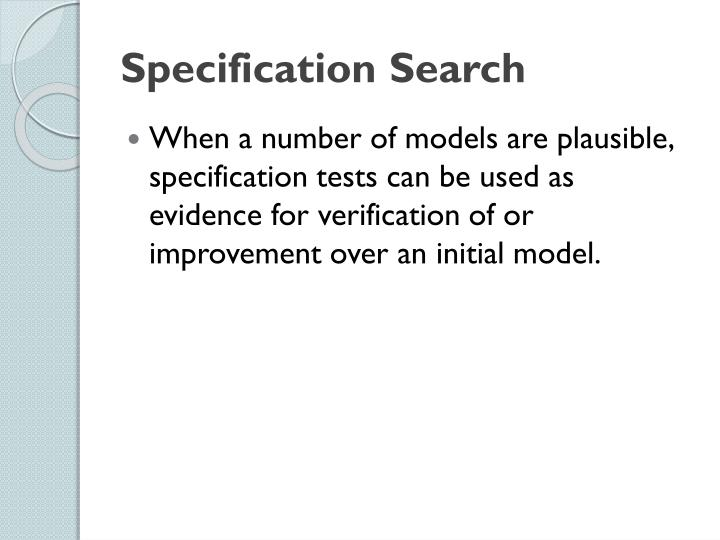 Specification Search