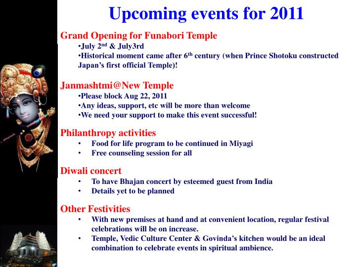 Upcoming events for 2011