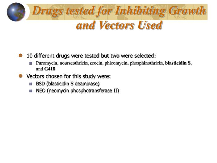Drugs tested for Inhibiting Growth