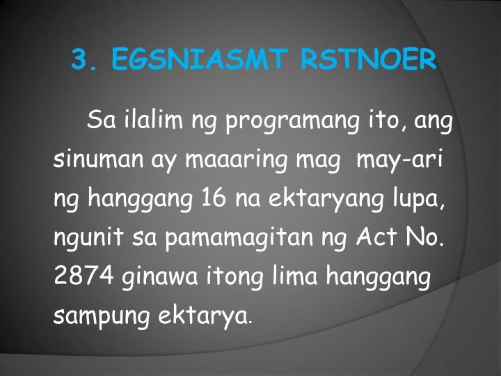 3. EGSNIASMT RSTNOER