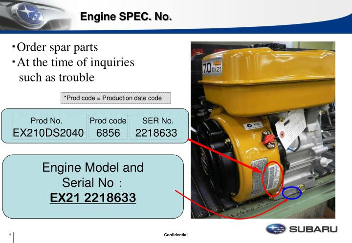 Engine SPEC. No.
