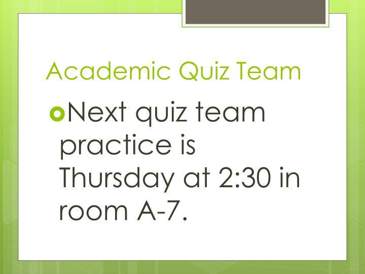 Academic Quiz Team