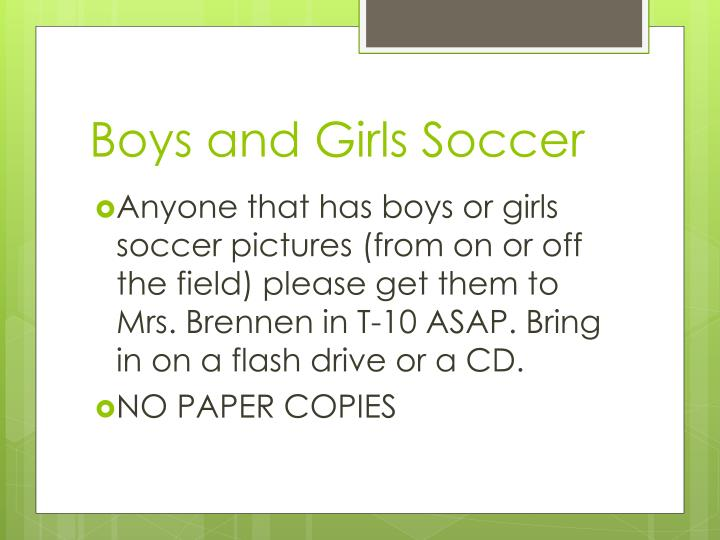 Boys and girls soccer