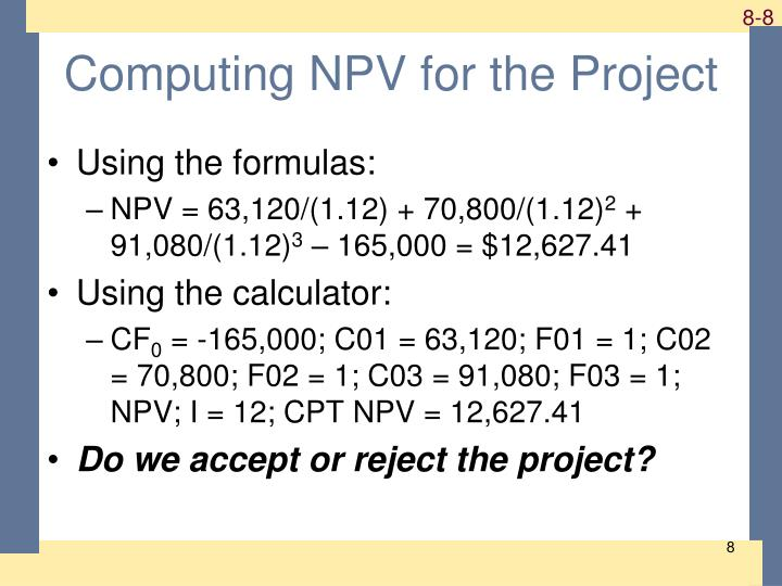 Computing NPV for the Project