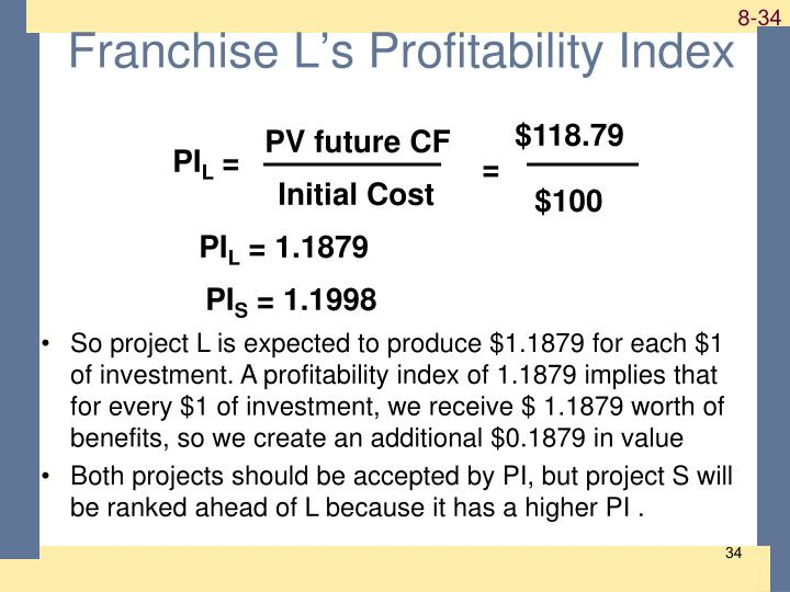 Franchise L's Profitability Index