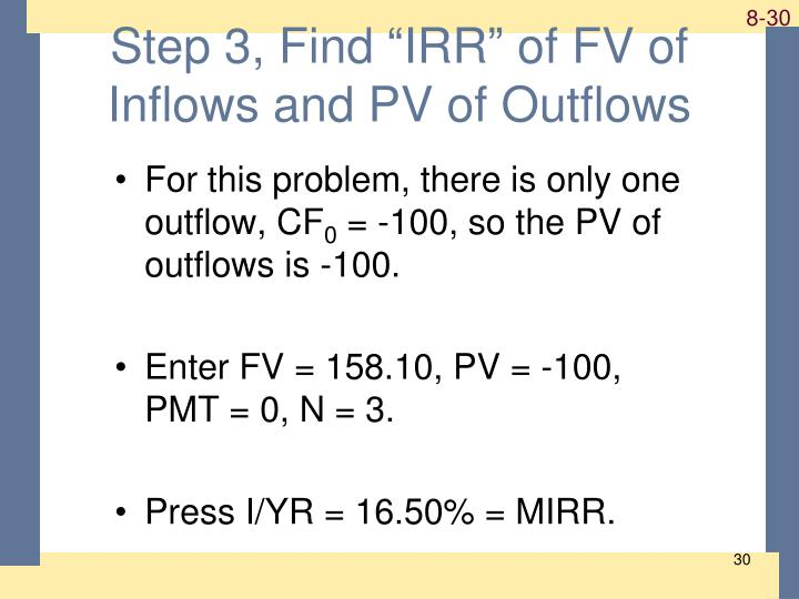 "Step 3, Find ""IRR"" of FV of Inflows and PV of Outflows"