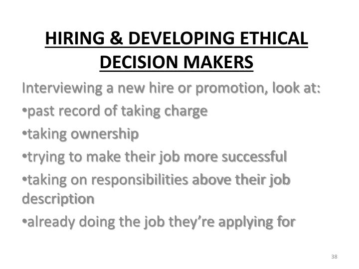 Interviewing a new hire or promotion, look at:
