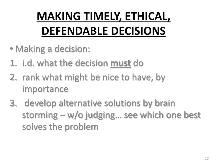 Making a decision: