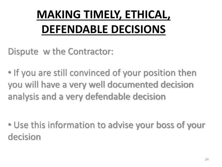Dispute  w the Contractor: