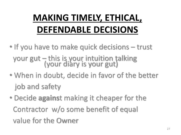 If you have to make quick decisions – trust