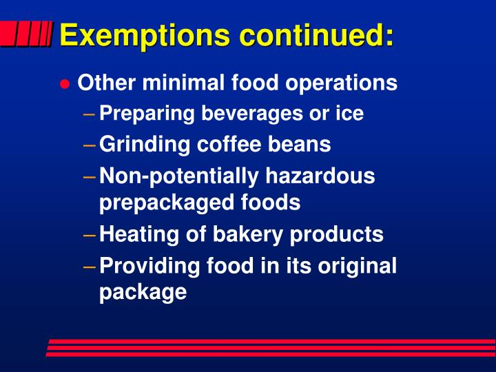 Exemptions continued: