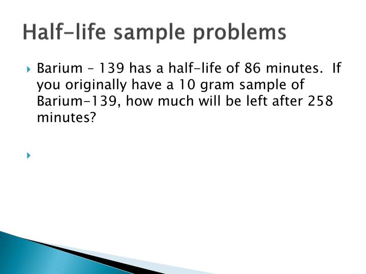 Half-life sample problems