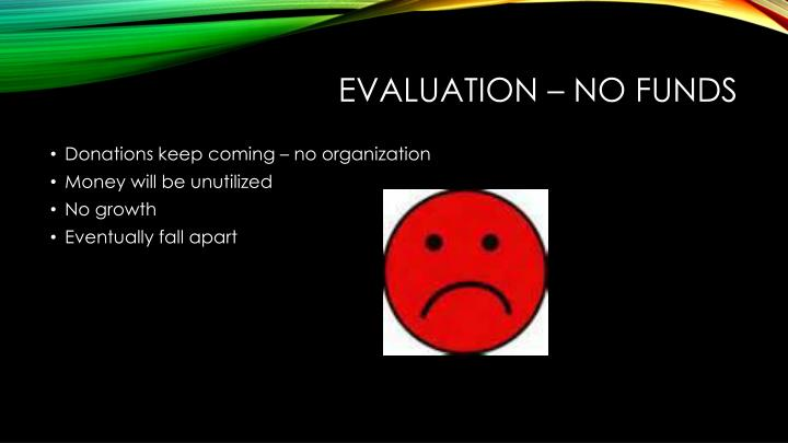 Evaluation – No funds