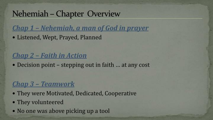 Nehemiah – Chapter  Overview