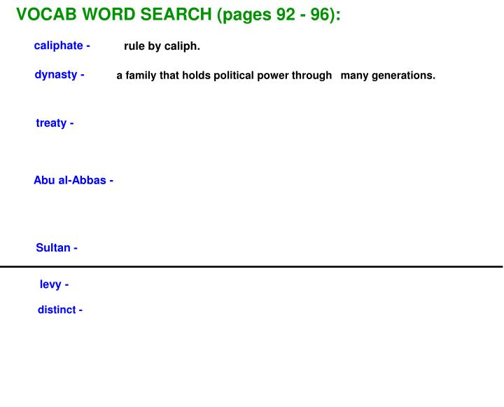 VOCAB WORD SEARCH (pages 92 - 96):