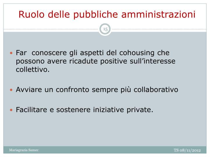 Ruolo delle pubbliche amministrazioni