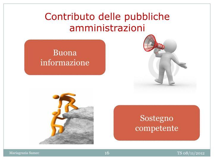 Contributo delle pubbliche amministrazioni