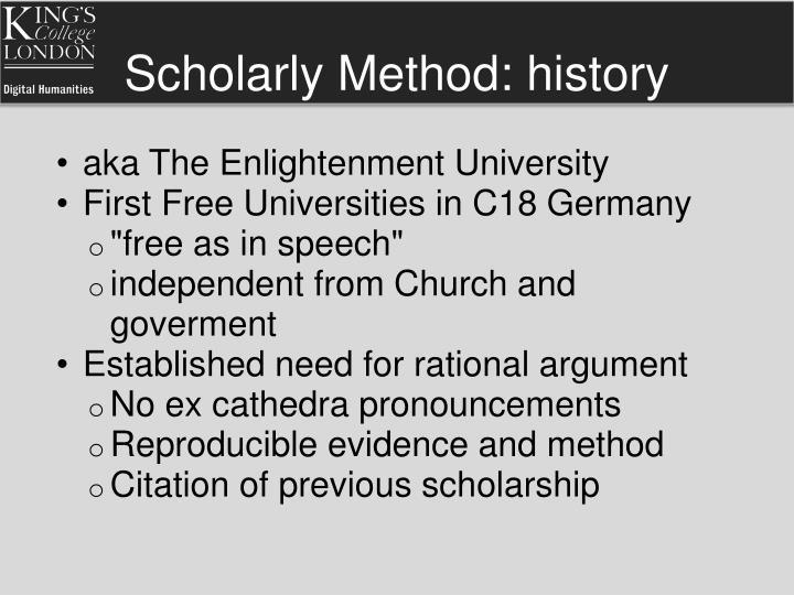 Scholarly Method: history