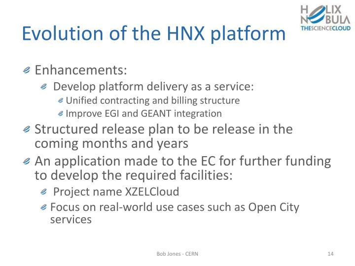 Evolution of the HNX platform