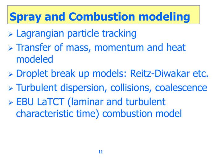 Spray and Combustion modeling