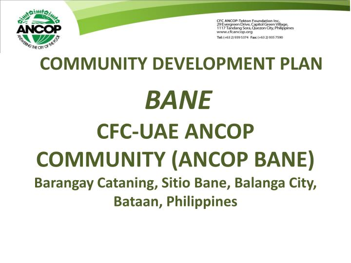COMMUNITY DEVELOPMENT PLAN
