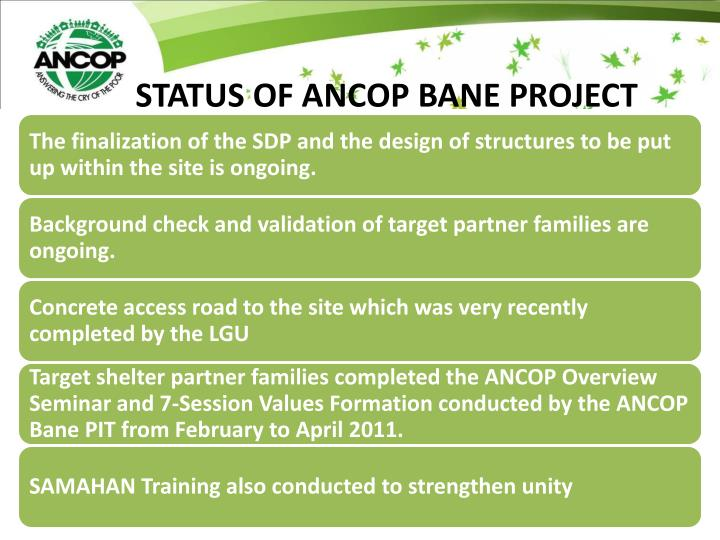 STATUS OF ANCOP BANE PROJECT