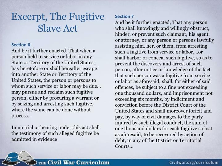 Excerpt, The Fugitive Slave Act