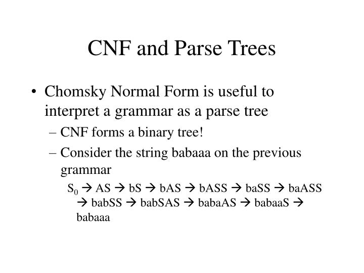 CNF and Parse Trees