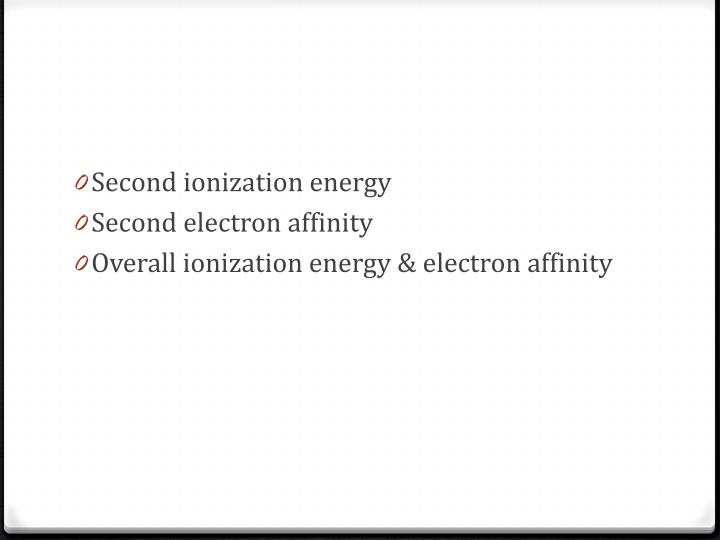 Second ionization energy