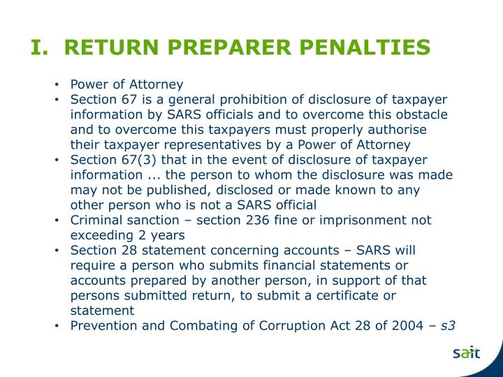 I.  RETURN PREPARER PENALTIES